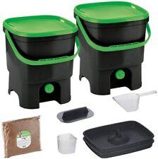 Skaza Bokashi Organko Set mit 2 Küchenkompostbehältern aus recyceltem Kunststoff