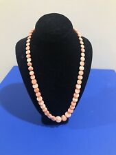 """Vintage Chinese Salmon Coral Angel Face Bead Necklace 17"""""""