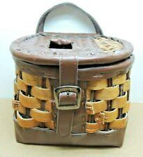 Vtg Fishing Creel Basket Woven Split Wood & Leather Buckle Stamped Mldwood