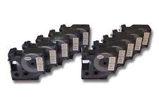 10x Cassette de cinta 19mm N/B para Dymo D1, 45803, S0720830