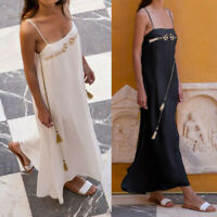 US Women Bohoemia Slip Dress Summer Beach Party Sundress Long Maxi Dress Plus