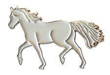 GRIGIO CAVALLO PONY equestre equitazione METALLO SMALTO DISTINTIVO 30mm NUOVO