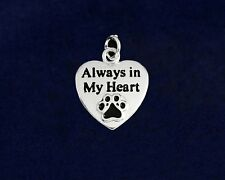 Sterling Silver-Plated Paw Always in My Heart Charm - 100% SALE BENEFITS RESCUE
