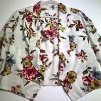 Women's Long Sleeve Open Front Floral Blazer Large L Lapel Lightweight Spring