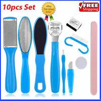 10pcs CALLUS Remover Pedicure Rasp Foot File Scraper Brush Nail Care Tool Set