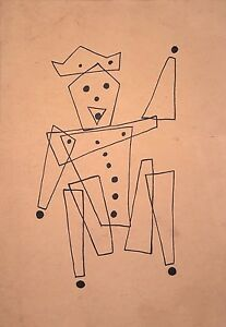 "MATHIAS GOERITZ 13.5"" x 9.5"" INK ON THICK PAPER –HAPPY KING- DRAWING"