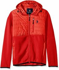 [78 69] U.S. Polo Assn. Men's Mixed Channel Quilt and Fleece Hoodie Red Large