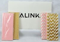 100 Biodegradable Paper PINK GOLD Straws Party Holiday Celebration Stripe Chevro