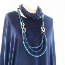 Lagenlook Blue & Green Rubber Statement Necklace from Timeless Season