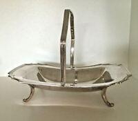 Henkel Schale antik Sheffield Obst Etagere Gebäck Kranz Rose Tischaufsatz Silber