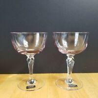 Zylstra Fine Crystal Champagne Glasses Pale Pink Bowl Clear Multi-Side Stem (2)