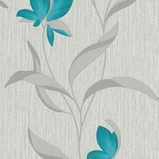 Teal Flower Silver Leaf Glitter Fleur Floral Textured Wallpaper 9730-18