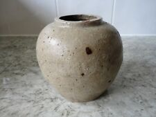 RARE UNGLAZED ANTIQUE KOREAN JOSEON DYNASTY POTTERY GINGER JAR / POT