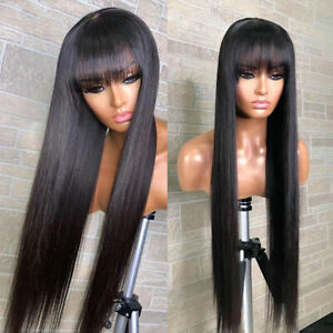 Straight Human Hair Wigs with Bangs 30 32inch Fringe Wig Colored Human Hair Wigs