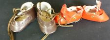 2 PAIRS TINY SHOES  for ANTIQUE DOLL, DOLL CLOTHES, DOLLMAKING