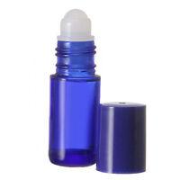 BLUE Glass Roll On Empty Bottle Cap Plastic Roller Refill Perfume Oil 1 OZ 30 ML