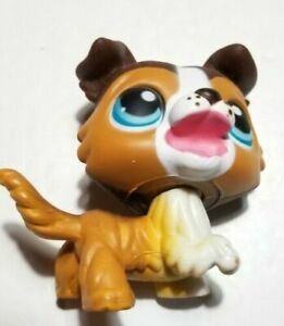 Littlest Pet Shop #237 Collie Puppy Dog Brown Tan White Blue Dot Eyes