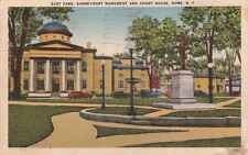 Postcard East Park Gansevoort Monument and Court House Rome NY