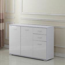 Modern White Cabinet Sideboard Cupboard Buffet Solo High Gloss Chest 3 Doors