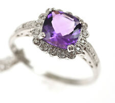 NEW STERLING SILVER Amethyst and Diamond (0.12ct Diamonds) Set Jewellery Suit...