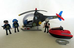Playmobil 5764 Police Helicopter with Jet Ski including ALL accessories/figures.
