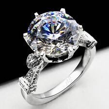 4CT Brilliant Moissanite Diamond Ring Female Wedding Solid 14K White Gold Ring