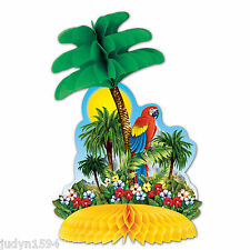 TROPICAL ISLAND CENTREPIECE PALM TREE PARROT LUAU PARTY DECORATION HAWAIIAN