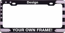 CUSTOM American Flag PATRIOTIC Black Laser Engraved ALUMINUM License Plate Frame