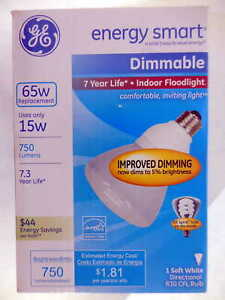 GE 65 Watt CFL R30 Dimmable Light Bulb FLE15DMR30ES/BX #7ed