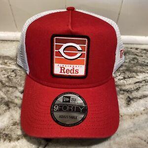 Cincinnati Reds New Era 9FORTY Retro Throwback Trucker Adjustable Mesh Hat Cap