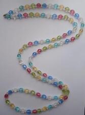 Bn Vintage 1950 S Multi-Couleur à Facettes Plastique Perles Tambour Collier DEADSTOCK
