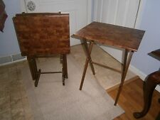 Tray Tables TV Trays Set of 4 w/ Stand Mid Century Wood Frame Parkay Look Tops