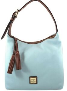Dooney & Bourke Pebble Grain Leather Paige Sac Shoulder Hobo Bag Pale Blue NWT