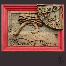 CAdre Flamenco y Tapas  sculpture Bois  70 x 50 cm