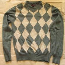 Ben Sherman Sweater Men Medium Gray Cream Argyle V-Neck Long Sleeve