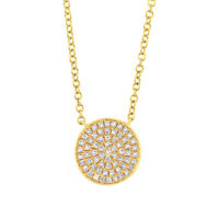 0.15 CT 14K Yellow Gold Natural Round Diamond Pave Circle Disc Pendant Necklace
