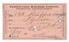 1898 Pennsylvania Railroad Pass Philadelphia to Reading