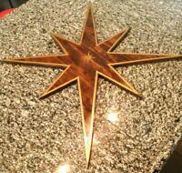 "Mid Century ATOMIC 32"" Starburst Wood Sputnik Retro wall ART Handcrafted WALNUT"