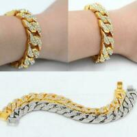 Plated Mens Iced Out 14mmmiami Cuban Link Chain Hip Hot Hop New Bracelet I9T8
