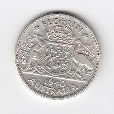 1940 KGVI AUSTRALIA FLORIN (92.5% SILVER) - VERY NICE VINTAGE COIN