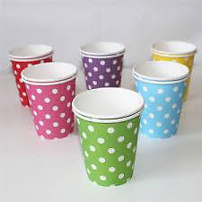♛ Shop8 : 10 pcs POLKA DOT PAPER CUPS Birthday Baptismal Theme Party Needs
