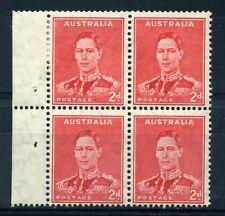More details for australia 1938 2d scarlet inv wmk thin paper sg184w var blk 4 mlh cp188aa  sale+