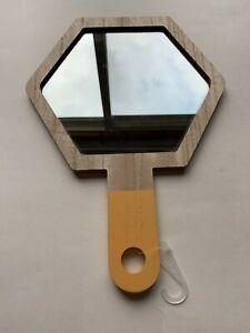 "Wooden Hanging Hand Mirror Yellow (mirror 6.5"" X 7.5"")"