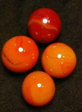 Vintage Jabo Classic Marbles Red Orange Swirls Junk Drawer Lot Old Toys Lot of 4
