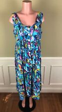 Vintage Adini India Womens Dress Sleeveless Colorful Button Front Size L