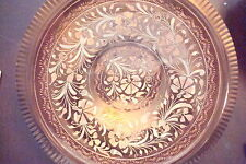 """Copper hand decorated footed plate made in Turkey, 9"""""""