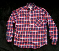 Mens Woolrich Large Plaid Flannel Red White & Blue 100% Cotton