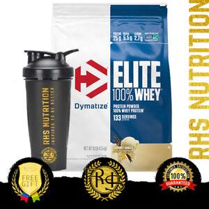 Dymatize Nutrition Elite 100% Whey Protein Powder 10lb BCAAs WPI WPC Gluten Free