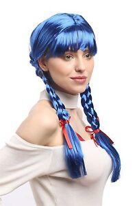 Perücke Damen Karneval Cosplay Fasching Zöpfe geflochten Schulmädchen Blau