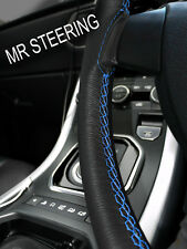 FITS MITSUBISHI LANCER LEATHER STEERING WHEEL COVER 07+ LIGHT BLUE DOUBLE STITCH